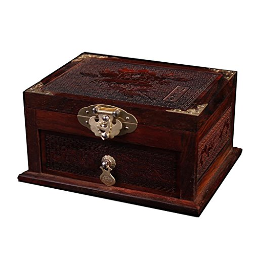 XL-US-Large mahogany red rose wood box jewelry box Wooden mirror box Classical craft gift box (about 17cm width 13cm high 9cm) by Ornament