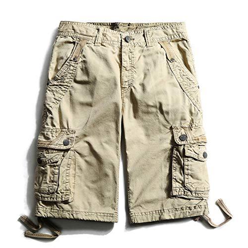 New-Challenge Summer Casual Shorts Men Multi-Pocket Cotton Mens Cargo Shorts Knee Length Outdoor Men's Shorts,Light -