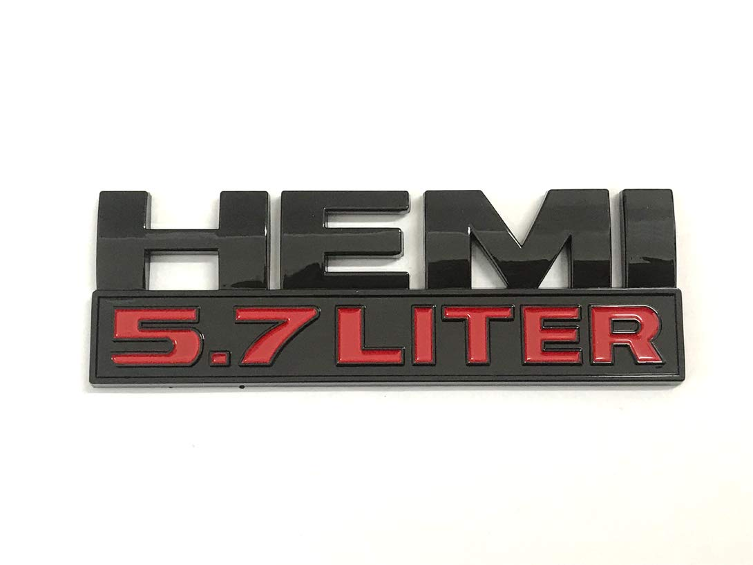 Pimall HEMI 5.7 Liter Black ABS Sticker Vehicle-Logo Badge Car Emblem for Dodge Available