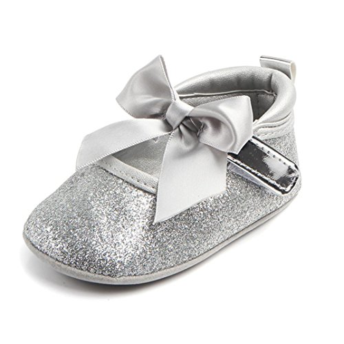 Kimloog Infant Toddler Baby Girls Moccasins Anti-Slip Soft Sole Bowknot Princess Shoes (5 M US Toddler, Sliver)