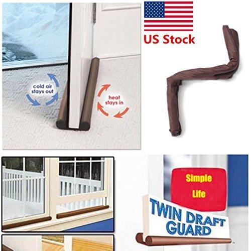 Twin Door Draft Dodger Guard Stopper Energy Save Window Protector Doorstop by BestChoiceUS