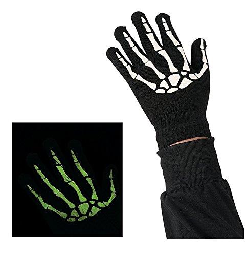 Zugar Land Child's Glow-In-The-Dark Black Skeleton Gloves (Size: 4 1/2