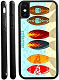 Rikki Knight Aloha Surfboards Design iPhone X Hybrid TPU Case Cover (Black Rubber with Front Bumper Protection) for iPhone X