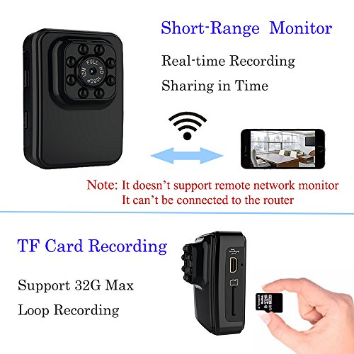 Cainda Mini Sports Action Camera Full HD 1080P, WiFi Video Camcorder with IR Night Vision, Small Security Camera for Car Recording, Home Surveillance and Outdoor Sports Bicycle Camera