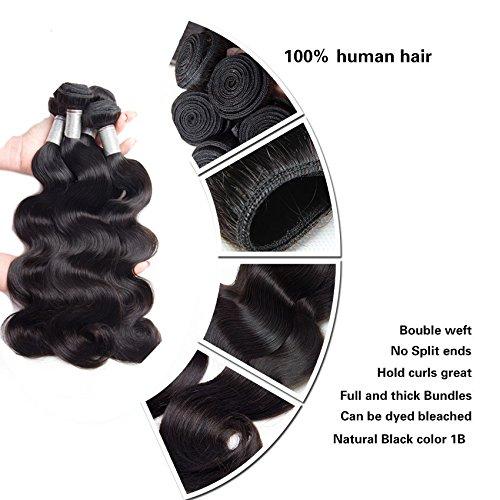 Perstar Hair 8A Grade Brazilian Body Wave hair 4 bundles Remy Human Hair extension Uprocessed Virgin Hair Natural Color (16 18 20 22, natural color)… by Perstar