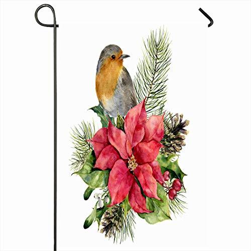 Ahawoso Outdoor Garden Flag 12x18 Inches Berry Watercolor Robin Poinsettia Christmas Floral Holidays Red Watercolour Apple Bird Boho Design Merry Seasonal Home Decorative House Yard Sign (Boho Birds House Flag)