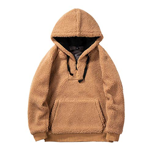 foreverH Unisex Hoodie Round Neck Sweatshirts Lamb Plush Color Zipper Hooded Sweater Classics Casual Pullover Khaki