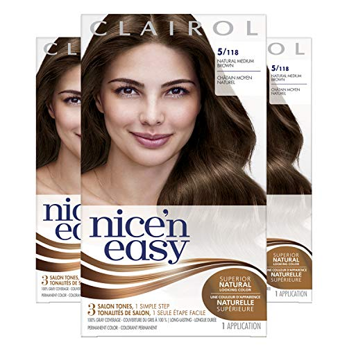 Clairol Nice'n Easy Original Permanent Hair Color, 5 Medium Brown, 3 Count (Images Of Light Brown Hair With Caramel Highlights)