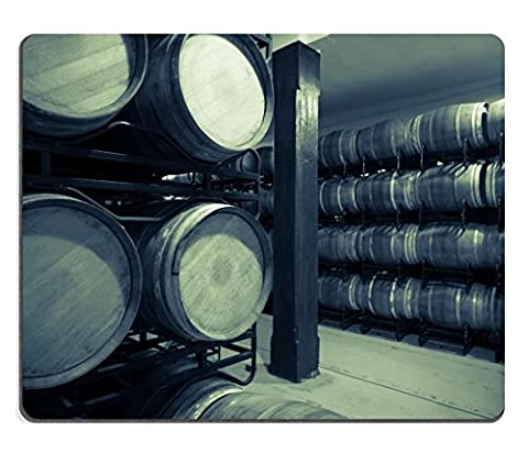 Luxlady Mouse Pad Natural Rubber Mousepad IMAGE ID 31728885 Vintage photo of old wine cellar with many - Rioja Wine Cellar