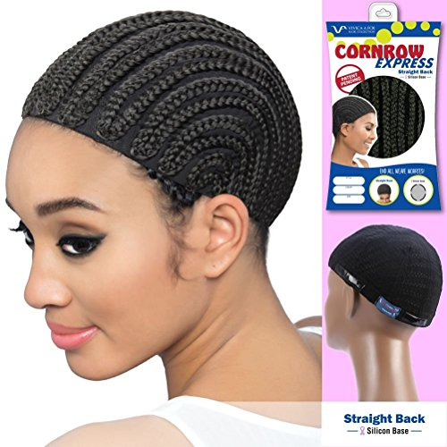 Mono Comfort Cap Wig - Vivica A Fox Hair Collection Cornrow Express Cap, Straight Back Type with Silicone, 1B, Small, 2 Ounce