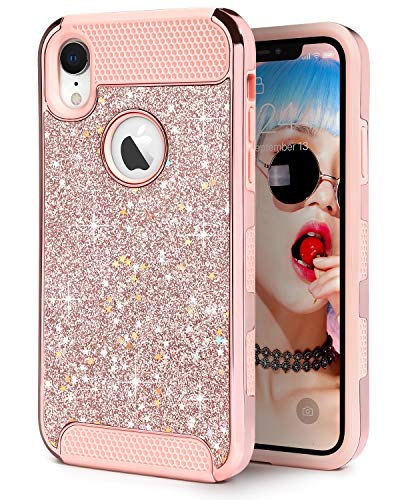 IDweel iPhone XR Case, Slim Fit Hybrid Hard Laminated with Sparkly Shiny Star Faux Leather Shell Flexible Shock Absorbing TPU Skin Protective Grip Cover for Apple iPhone XR 6.1 Inch, Rose Gold Glitter