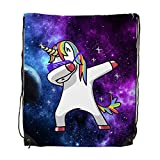 FXXKFACE Dabbing Unicorn In The Galaxy Gym Drawstring Shoulder Bag Backpack Travel Bag Bags Backpack String Bags School Rucksack Gym Handbag