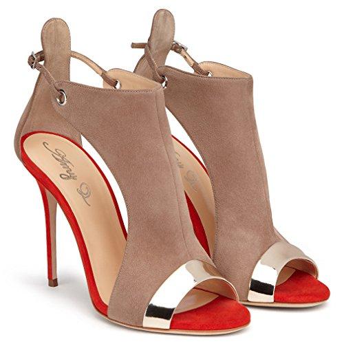 Enmayer Femmes Pu Matériel Peep Toe Avec Boucle Sandales En Daim Deux Pièces Talons Hauts Chaussures Dames Été Pompes Marron