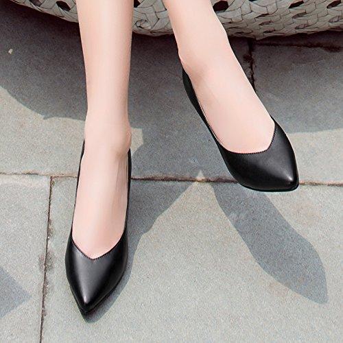 donna 42 pelle in nero alto occupazione da Unico selvaggio punta nera scarpe di tacco scarpe scarpe con lavoro ZwYTq