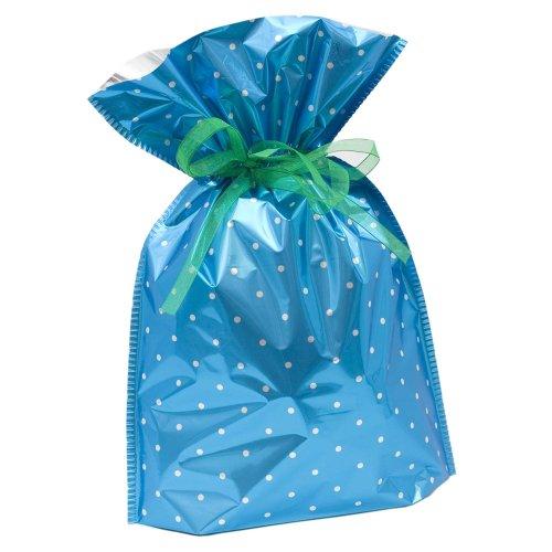 Gift Mate 21055-4 4-Piece Drawstring Gift Bags, Large, Blue Polka Dot