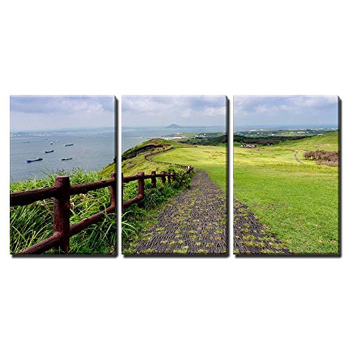 wall26 - 3 Piece Canvas Wall Art - Landscape of Jeju Island, South Korea - Modern Home Decor Stretched and Framed Ready to Hang - 24