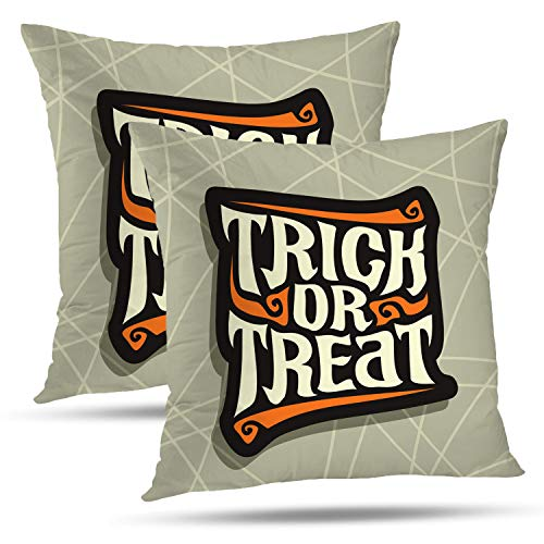 Batmerry Halloween Pillow Covers 18x18 inch Set of 2, Halloween Trick Font Quote Treat Gray Abstract Hand Lettering Throw Pillows Covers Sofa Cushion Cover -