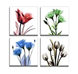 DZL Art H71133 Framed Ready to Hang Elegant Tulip Flower Canvas Print Wall Art Painting for Kitchen Bedroom Living Room Decoration