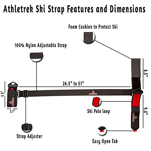 Athletrek Ski and Pole Carrier Strap with Durable Cushioned Velcro to Protect Skis from scratches |Bonus Ski Boot Carrier |Perfect Ski & Snow Gear accessory |Use over Shoulder to Free up hands