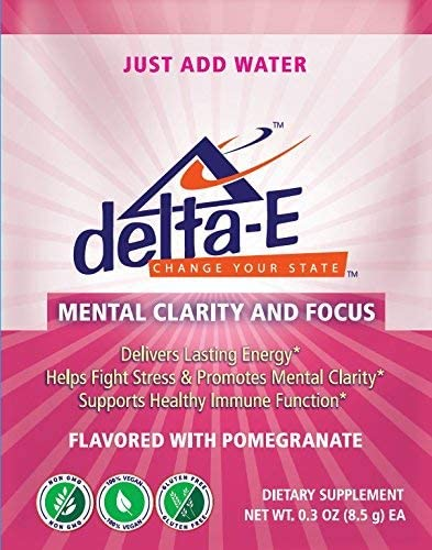 Delta-E Mental Clarity Focus Natural Energy Drink Non-GMO, 100 Vegan Gluten Free 1 Packets