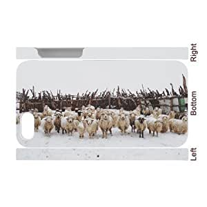 3D [Art Prints] Snowy Sheep Stare Case for iphone 5c iphone 5c Case Girly Protective Cheap for Girls {White}