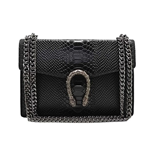 RONDA REPTILE Italian Baugette clutch mini wallet cross body bag with nickel chain smooth stiff leather and suede (Reptile black) (Bag Gucci)