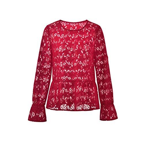 Beige Chic Casual Rouge Femme Tunique Tee amp;Automne de Blouse SANFASHION Mode Manches Noir Shirt Hiver Creuse Sexy Tee toile Dentelle Longues Shirt Tricot T Rouge Tops q44HUSxwZ