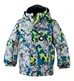 Obermeyer Kids Boys Hawk Jacket Fractal Camo 6 & E-tip Glove Bundle