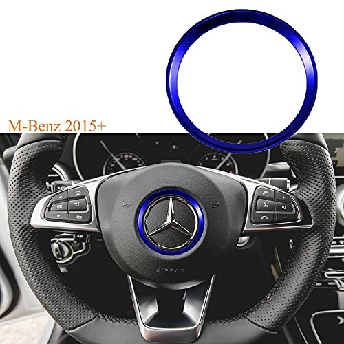 1x Blue Steering Wheel Center Decoration Cover Trim For 2015+ Mercedes C E CLA GLA GLC GLE Class (Truck Mercedes Center Benz)
