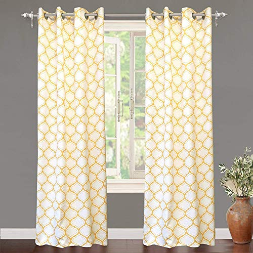 DriftAway Geo Trellis Room Darkening Thermal Insulated Grommet Unlined Window Curtain Drapes Pair for Living Room Bedroom Set of 2 Panels Each 52 by 84 Inch Yellow (Yellow Curtain Chevron)
