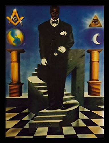 The Ultimate Climb ( Masonic ) - Jay 24x32 Black Framed - African American Black Art Print Wall Decor Poster #7B12