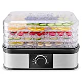Costzon Food Dehydrator, Electric 5-Tire Fruit Vegetable Dryer with Adjustable Timer and Temperature Control from 104℉-158℉, 5 Stackable Drying Trays (Knob Adjustment)