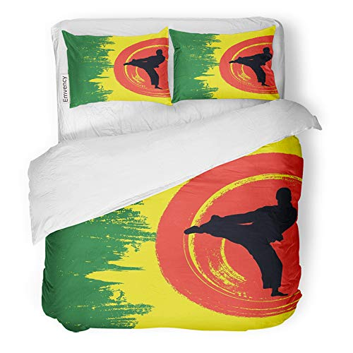 Emvency Decor Duvet Cover Set Full/Queen Size Green Basic of Man Demonstrating Karate Black Boy Fight Hieroglyph Japan Japanese 3 Piece Brushed Microfiber Fabric Print Bedding Set Cover