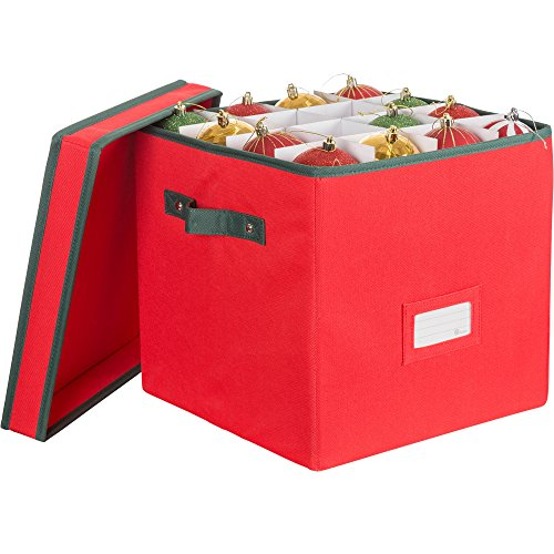 Zober Premium 600D Polyester Christmas Ornament Storage Box with Lid - Adjustable Ornament Storage Container with Dividers - Holds up To 64 Round Ornaments - 12 x 12 x 12 - Red (Box Containers Storage)