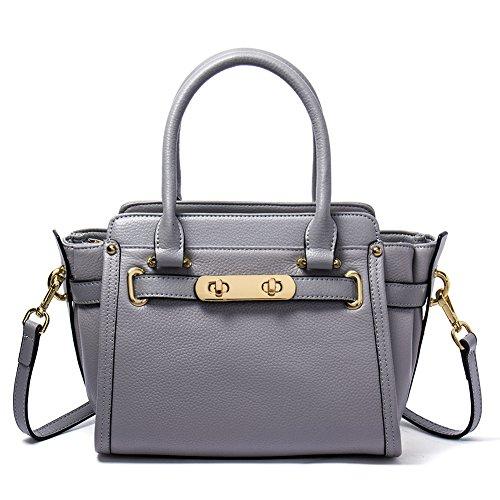 NAWO Leather Designer Handbags Shoulder Tote Top-handle Bag Clutch Purse for Women Gray (Discount Designer Bags)