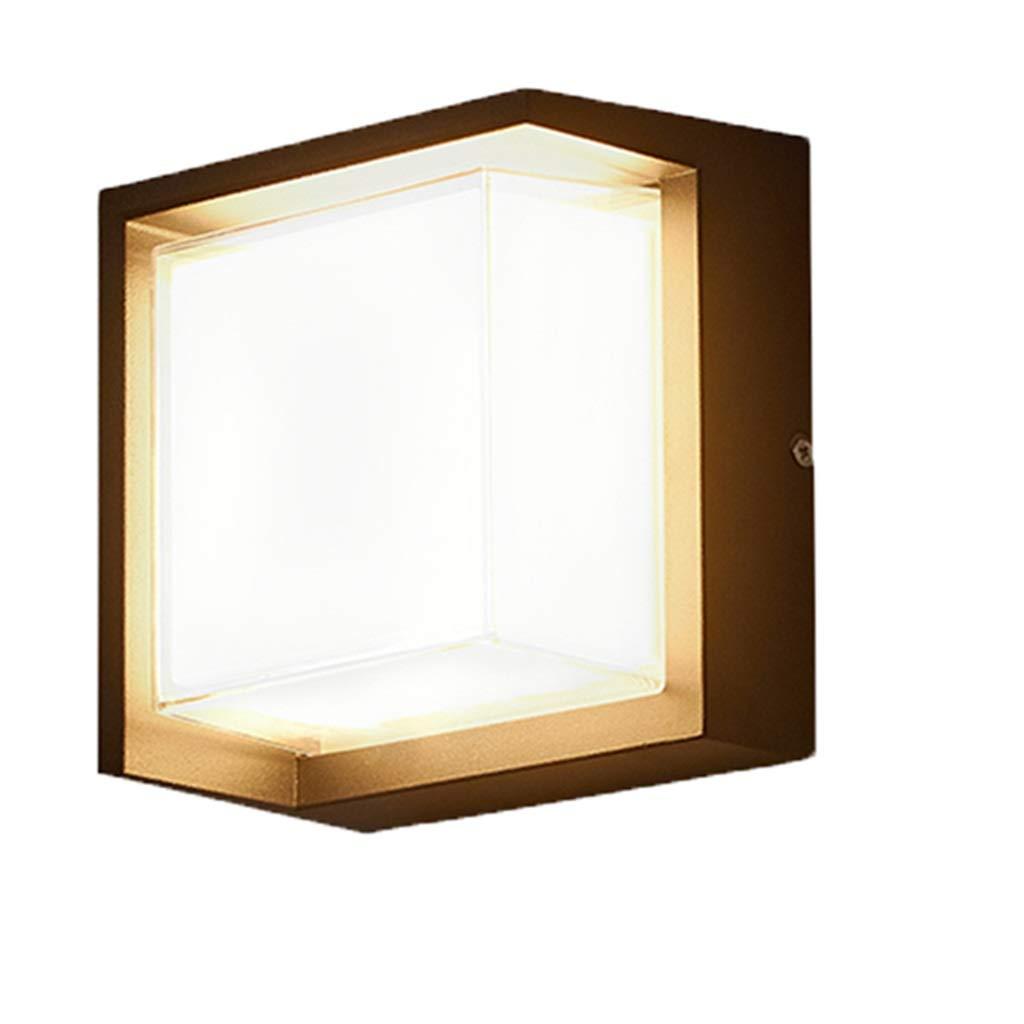 LIGHTZHAO Proiettore,LED All'aperto Lampada da Parete Impermeabile Famiglia Camera da Letto Villa Corridoio 5 Metri Quadrati-10 mq Alluminio (Dimensioni   Square 8W)