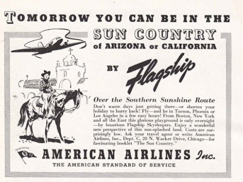 1938 American Airlines  Sun Country  Flagship  American Airlines Print Ad