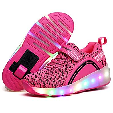SDSPEED Kids Roller Skate Shoes with Single Wheel Shoes Sport Sneaker LED Pink Size: 1 Little Kid