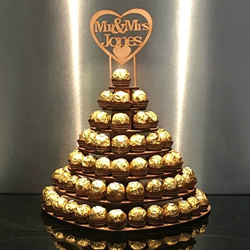 7 Tier Heart Shape Personalised Mr & Mrs Ferrero Rocher Pyramid, MDF Wedding Display Stand AYOT