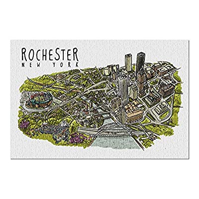 Rochester, New York - Line Drawing (Premium 500 Piece Jigsaw Puzzle for Adults, 13x19, Made in USA!): Toys & Games