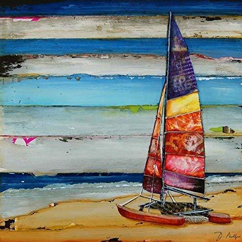 Sail Away - Danny Phillips art print, UNFRAMED, Boat dock sailing coastal beach nautical art wall & home decor poster, ALL SIZES (Wall Art Boat Docks)