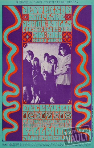 Jefferson Airplane Poster From Fillmore Auditorium San Francisco, Ca Dec 16-18, 1966
