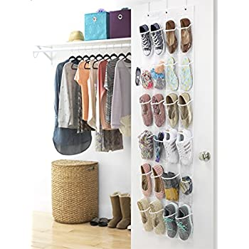 Whitmor Door Shoe Bag Hanging Organizer-12 Pair-24 Oversized Pockets, Clear