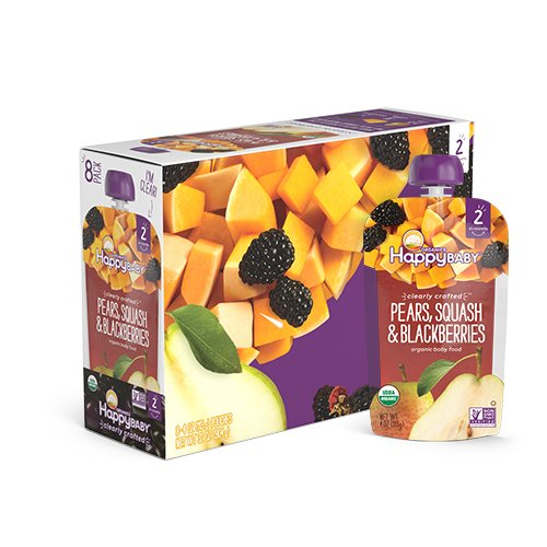 Happy Baby Organic Clearly Crafted Stage 2 Baby Food Pears, Squash & Blackberries, 4 Ounce Pouch (Pack of 16)