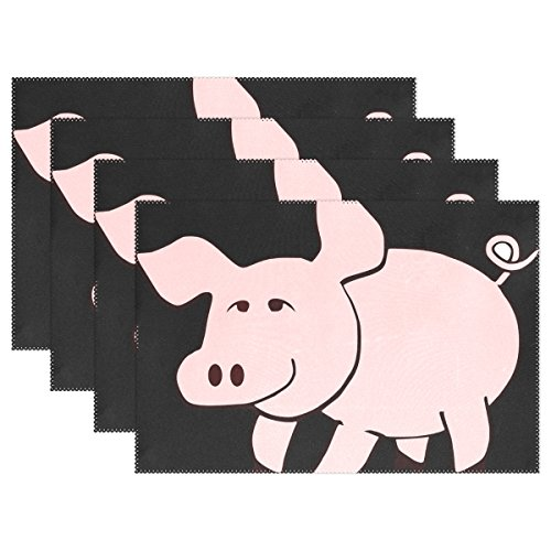 WIEDLKL Animal Mammal Pig Pink Placemats Set Of 4 Heat Insulation Stain Resistant For Dining Table Durable Non-slip Kitchen Table Place Mats by WIEDLKL