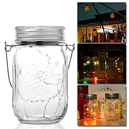 Lamps & Shades Lights & Lighting Hot Sale Solar Light Outdoor Waterproof Stained Glass Style Mason Bottle Light random Color
