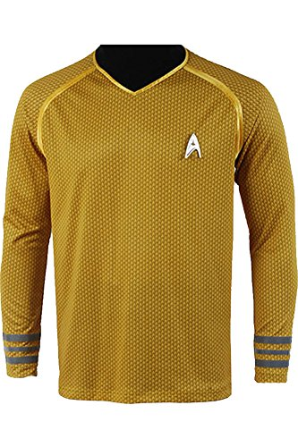 Wecos Halloween Costume into Darkness Captain Kirk T-Shirts XX-Large Yellow