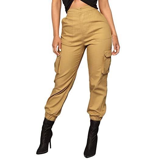 20917cc7f54d Womens Baggy Trousers Casual Jogging Sports Pants High Waist Overall Cargo  Pants Pockets Solid Color Loose
