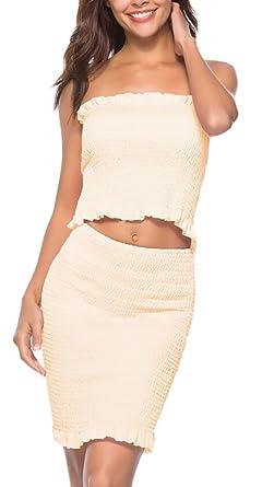 1bf1e81015c2 WSPLYSPJY Women Sexy Off Shoulder Top Bodycon Skirts Two Piece Midi Party  Dresses Beige XS