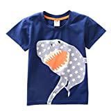 Kids Boys Shark T-Shirt Easter Short Sleeve Shirts Casual Tops Cotton Tee Age 2 3 4 5 6 7 8 Years